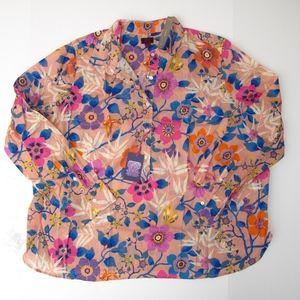 J.Crew Sz 24 Classic Popover Shirt Liberty Floral